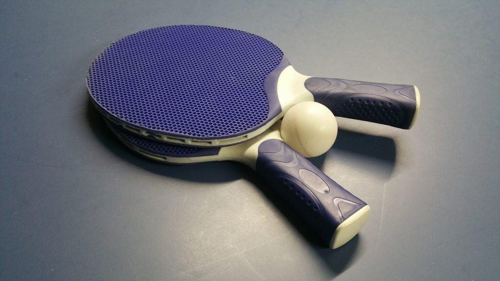 ping pong ball and paddles