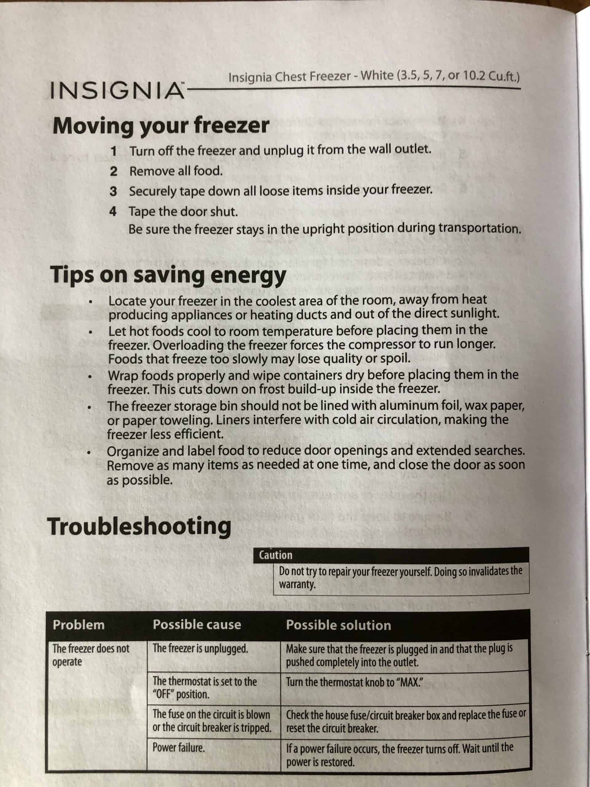 tips on saving energy page in appliance manual