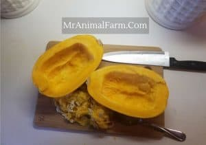 Spaghetti Squash with seeds removed