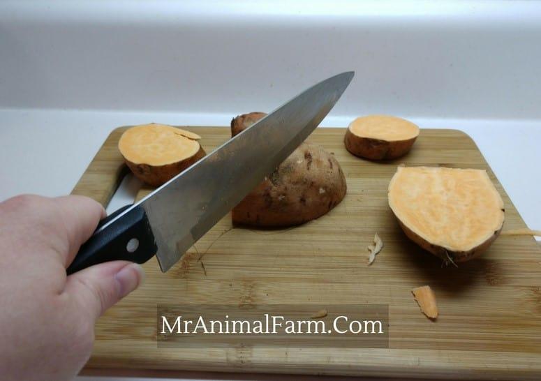 Sliced Sweet Potatoes on a cutting board