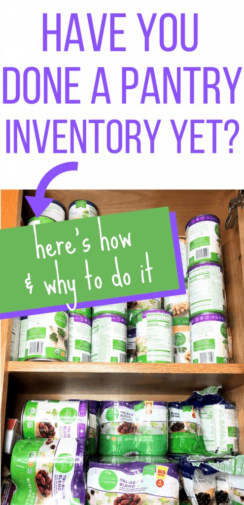 """Pinterest image with stacks of cans with the text """"Have you done a pantry inventory yet? Here's how & why to do it"""""""