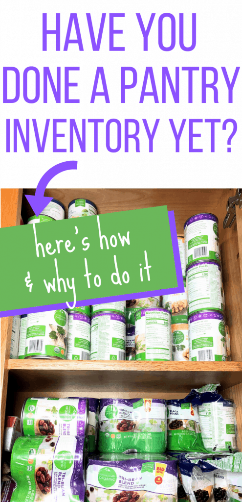 "Pinterest image with stacks of cans with the text ""Have you done a pantry inventory yet? Here's how & why to do it"""