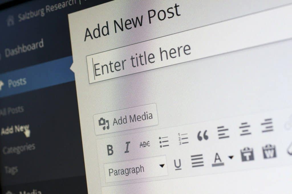 starting a new post on wordpress
