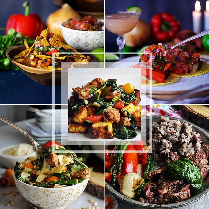 collage of multiple beef based meals