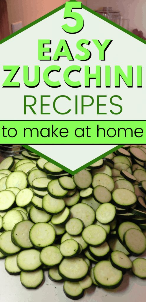 "pinterest image of zucchini chips with text reading, ""5 easy zucchini recipes"""