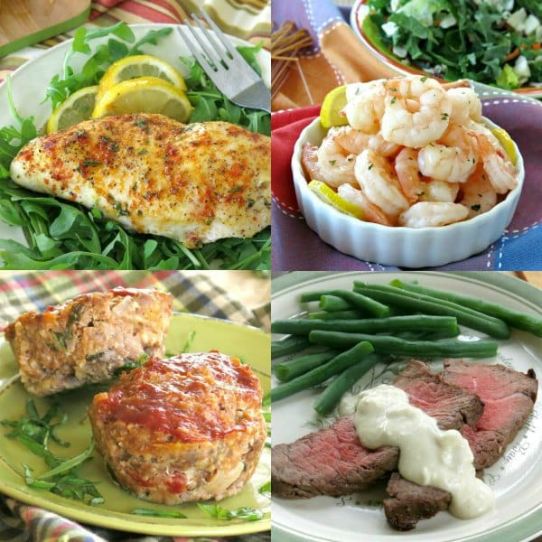 four meal images. Top left: Baked Lemon Pepper Chicken Breast; top right: Skillet Shrimp; bottom left: Gourmet Meatloaf with Mozzarella and Sundried Tomatoes; bottom right: London Broil Marinade