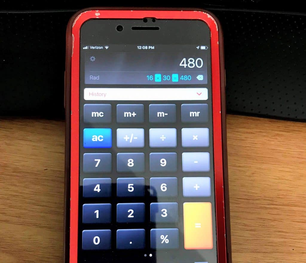 calculator showing 16*30=480