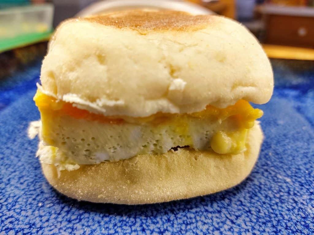 close up image of reheated freezer breakfast sandwich