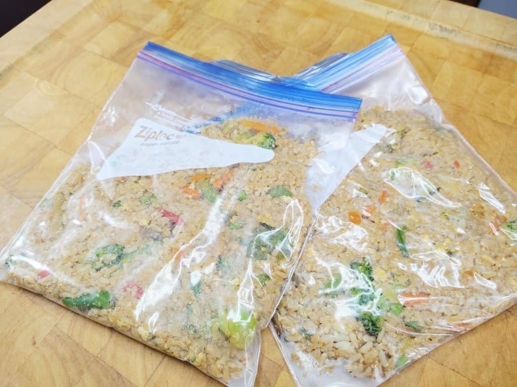 2 bags of vegetable fried rice, ready to go in the freezer