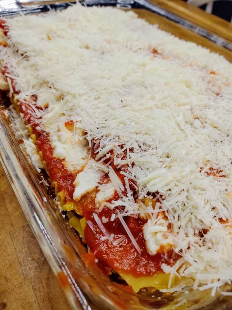 closeup of uncooked lasagna