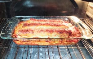 cooked lasagna in oven