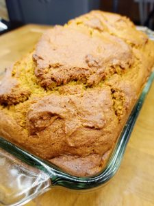 closeup of finished pumpkin bread loaf in pan
