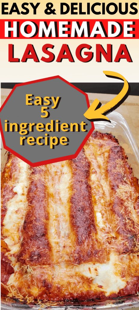 """Pinterest image of a pan of cooked lasagna with text reading """"Easy & Delicious Homemade Lasagna. Easy 5 ingredient recipe"""""""