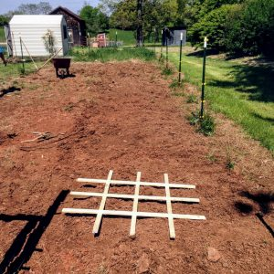square foot gardening grid in tilled garden area