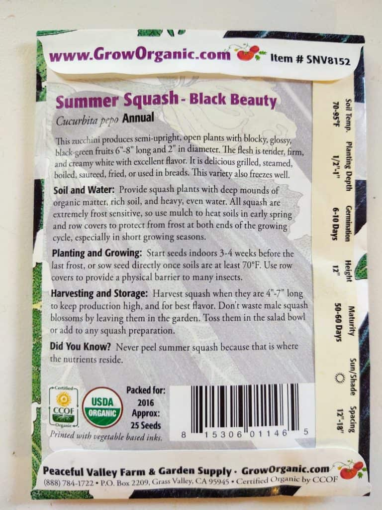 back of seed packet with grow and care instructions