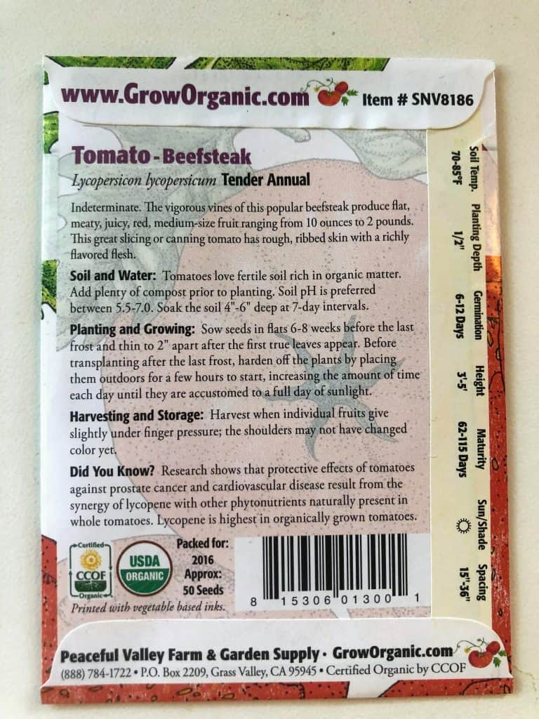 back of seed packet with instructions