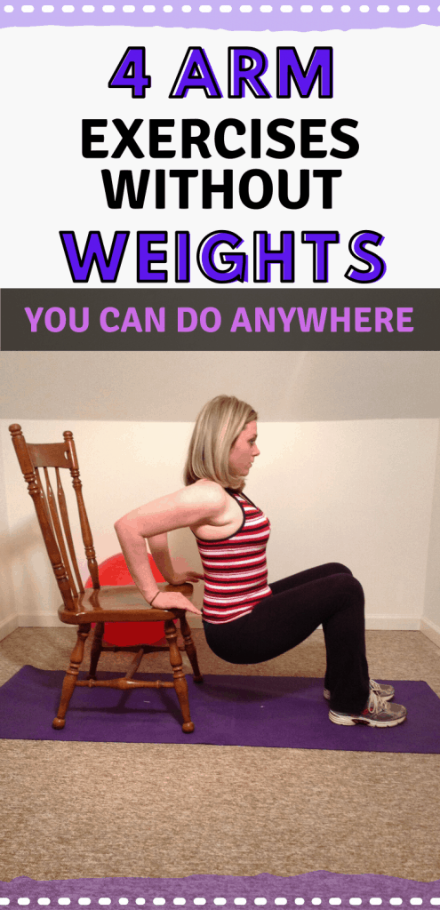 """Pinterest image of woman doing chair dips with text reading, """"4 arm exercises without weights you can do anywhere."""""""