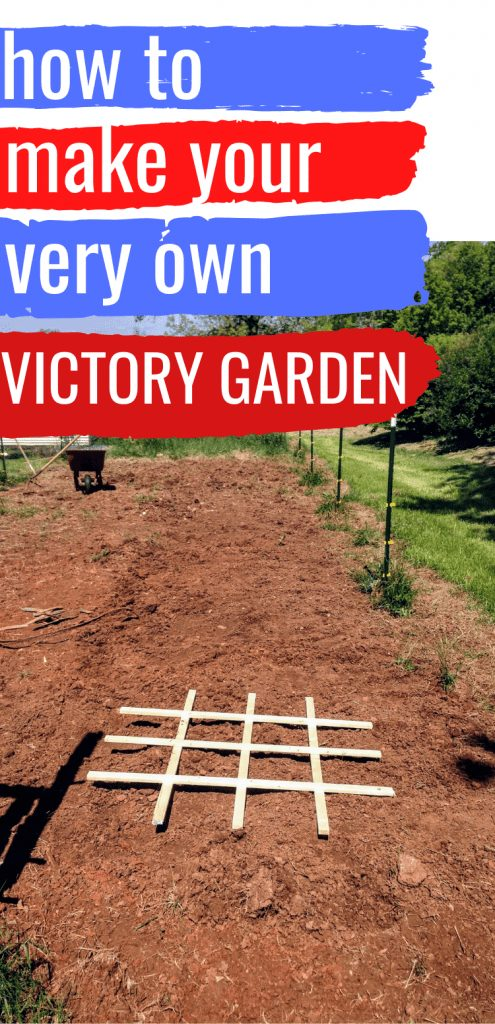 """pinterest image of square foot gardening grid. text reads, """"how to make your very own victory garden"""""""