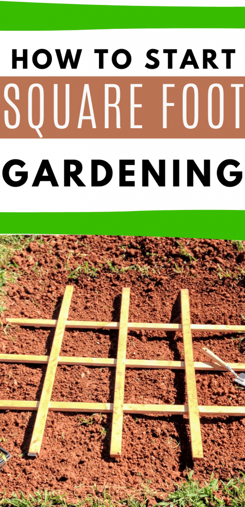 """pinterest image with square foot gardening grid. text reads, """"how to start squarefoot gardening"""""""