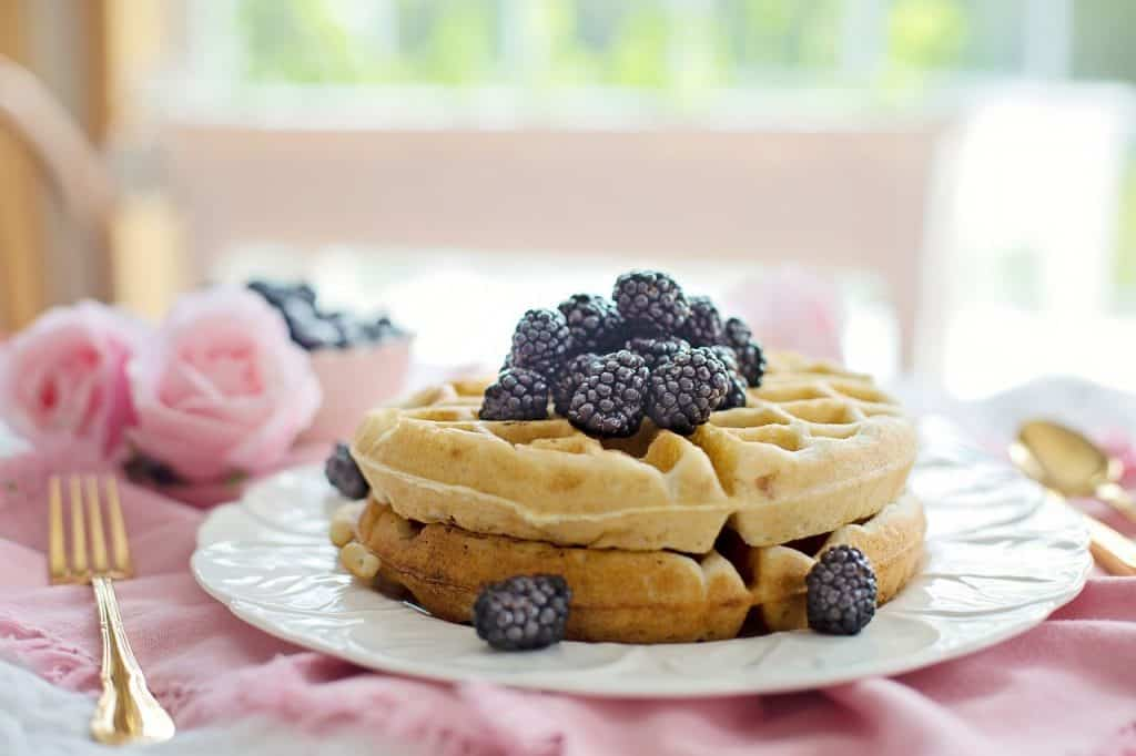 blackberries on top of waffles