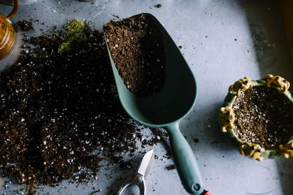 gardening shovel and soil